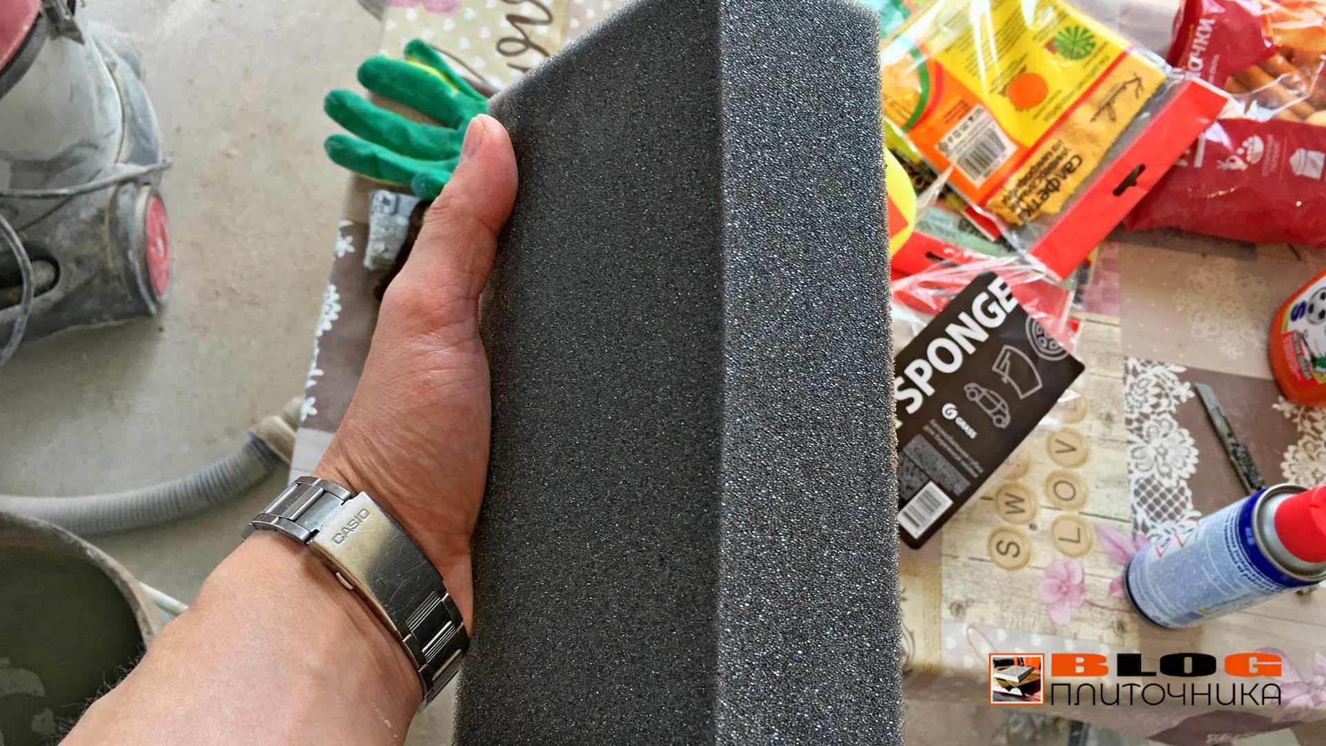 губка для замывки полимерной затирки блог плиточника