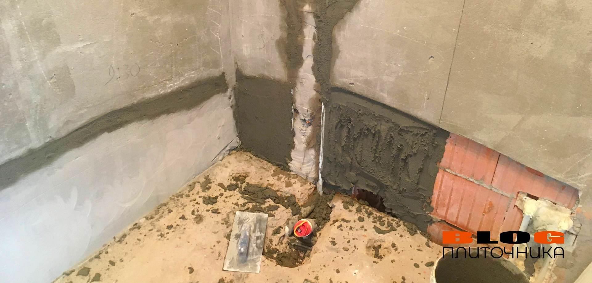 2.04 штукатурка стены заполнение штроб в душевой комнате