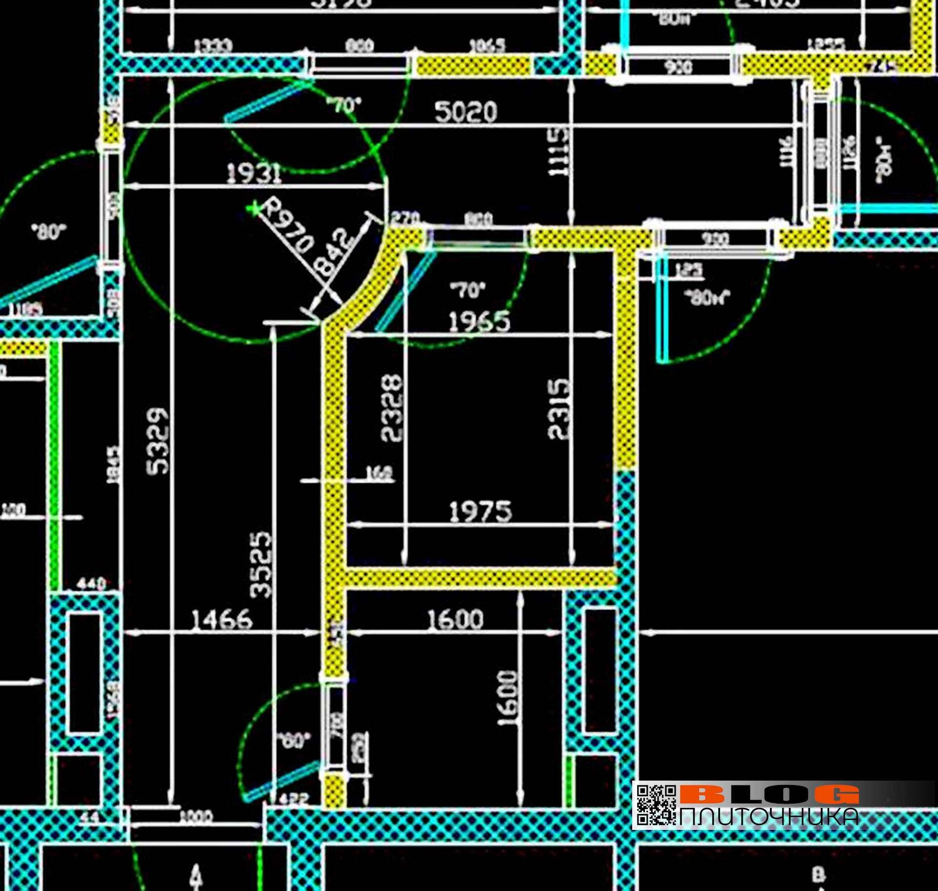 1.04 схема коридора, где будет мозаичное панно из керамогранита Блог плиточника
